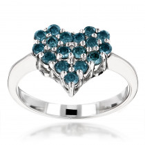 Blue Diamond Heart Ring 0.68ct 14K Gold