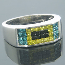 Unique Mens Wedding Bands 14k White Gold Black Blue Yellow Diamonds Ring