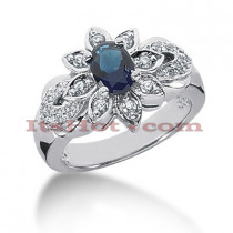 Blue Sapphire and Diamond Engagement Ring 14K 0.28ctd 0.75cts