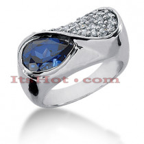 Blue Sapphire and Diamond Rings: 14K Gold Ring 0.74ctd 2cts