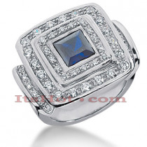 Blue Sapphire Cocktail Ring with Diamonds 14K 0.90ctd 1.25cts