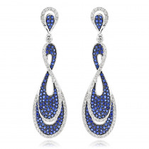 Blue Sapphire Diamond Ladies Infinity Earrings by Luxurman 4ct 14K Gold