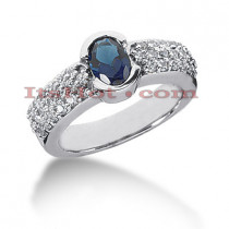 Blue Sapphire Engagement Ring with Diamonds 14K 0.57ctd 0.75cts