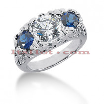 Blue Sapphire Rings: Ladies Diamond 3 Stone Ring 14K 1.00ctd 1.00cts