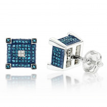 Blue White Diamond Earrings Studs 0.61ct Sterling Silver