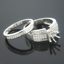Bridal Ring Sets 14K Diamond Engagement Ring Set 0.85ct