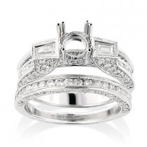 Bridal Ring Sets 18K Diamond Engagement Ring Set 1.85ct