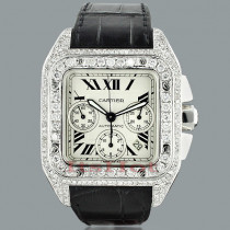 Cartier Santos 100 Mens Custom Diamond Watch 13ct