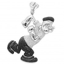 Cartoons: Custom White Black Diamond Popeye Pendant in Sterling Silver 4ct