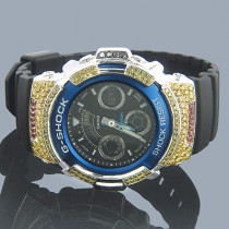 Casio G-Shock Diamond Watch 4ct Blue. W-591