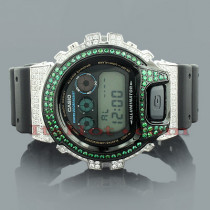 Casio White Green G-Shock Watch with Crystals