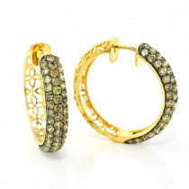 Champagne Diamond Hoop Earrings 3.11ct 14K
