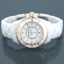 Chanel J12 Diamonds Quartz Ceramic and Gold Watch