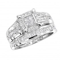 Bridal 14K Gold 1 Carat Diamond Engagement Ring and Wedding Band Set