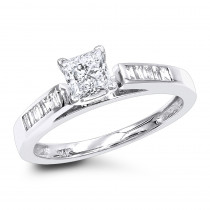 14K Gold 0.75 ct Princess Cut Diamond Engagement Ring
