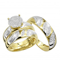 10K Gold 0.4 ct Diamond His & Hers Engagement & Wedding Ring Trio Set