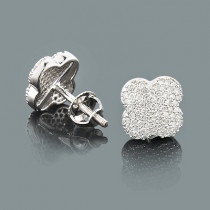 Clover Shaped Diamond Stud Earrings 0.42ct 14K Gold