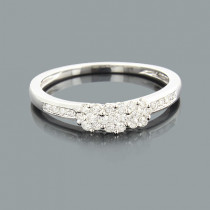 Thin Cluster Rings: Ladies Diamond Flower Ring 0.34ct 14K Gold