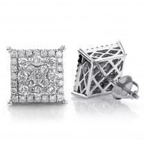 Clusters 14K Gold Square Diamond Pave Stud Earrings 0.78ct