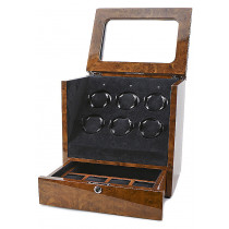 Collectors Watches: Multi-Function Burlwood Brown 6 Slot Watch Winder WW-1005-P11-03