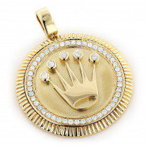 Crown Diamond Pendant 0.95ct Rolex Style Medallion 10k Gold