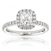 2 Carat GIA Cushion Cut Diamond Engagement Ring 14K Gold Halo Design