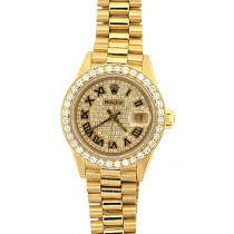 Custom 18K Gold Rolex Presidential Datejust Ladies Diamond Watch 2.5ct