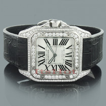 Custom Cartier Santos 100 Mens Diamond Watch 6.92ct