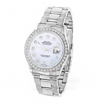 Custom Diamond Bezel Rolex Datejust Mens Watch 36mm 3ct White MOP Face