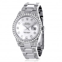 Custom Diamond Bezel & Band Rolex Datejust Mens Watch 7ct White MOP