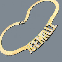 Custom Hip Hop Jewelry: Silver Nameplate Necklace with CZ Crystals