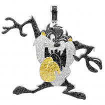 Custom Jewelry 10K Gold Taz Tasmanian Devil Diamond Pendant 12.95ct