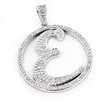 Custom Made Diamond Initial E Pendant 3.29ct 10K Gold Alphabet Letter