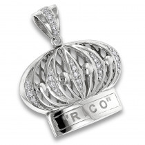 Custom Pendants: Crown Diamond Charm in Sterling Silver 0.9ct