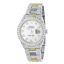 Custom White Blue Yellow Diamond Rolex Datejust Mens Watch 10.3ct