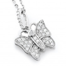 Cute Diamond Butterfly Pendant 14K Gold 0.19ct