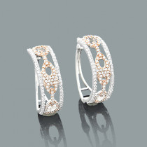 14k White & Rose Gold Diamond Gucci Link Hoop Earrings for Women 0.83ct