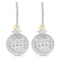 Dangle Diamond Circle Earrings 2.75ct 14K Gold