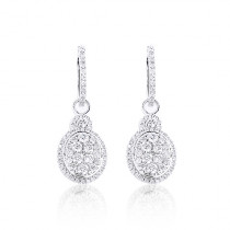 Dangle Diamond Oval Shaped Earrings 1.95ct 14K Gold