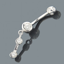 Dangling Belly Rings 14K Diamond Belly Button Ring 0.72