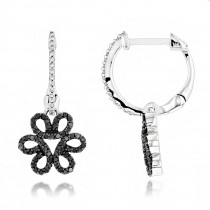 Dangling Black Diamond Flower Earrings 0.42ct 14K Gold