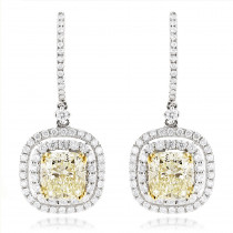 Dangling Designer Diamond Drop Earrings 6.5ct 18K Gold Yellow Diamonds