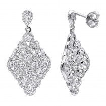 Designer 14k Gold Diamond Drop Earrings for Women 2.5 Carat Vintage Style
