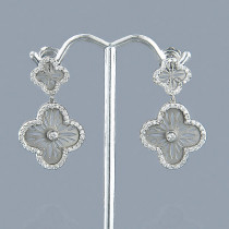 Designer 14K Gold Diamond Flower Earrings 1.49ct