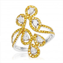 Designer 14K Gold White Yellow Pear Round Diamond Cocktail Ring for Women