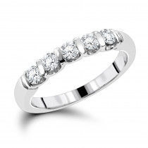 Thin Designer 5 Stone Diamond Wedding Band for Women 14K Gold Round Diamonds