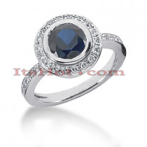 Ultra Thin Designer Blue Sapphire Diamond Engagement Ring 14K 0.36ctd 1.5cts