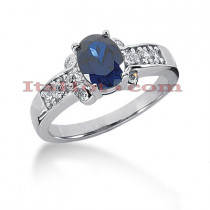 Designer Diamond and Blue Sapphire Engagement Ring 14K 0.27ctd 1.25cts