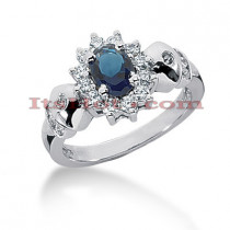 Designer Diamond and Blue Sapphire Engagement Ring 14K 0.36ctd 0.75cts
