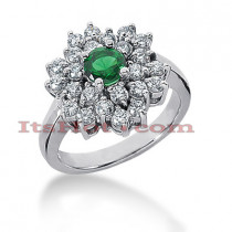 Designer Diamond and Emerald Ring 14K 0.72ctd 0.50cte